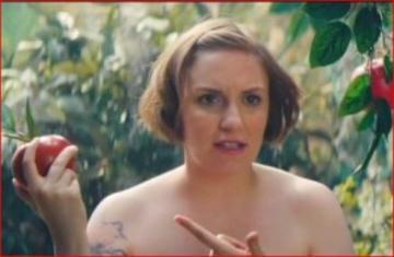 Lena Dunham & Taran Killam as SNL's 'Adam & Eve' video