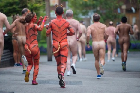 Streakers run through ZSL London Zoo to raise funds for tigers